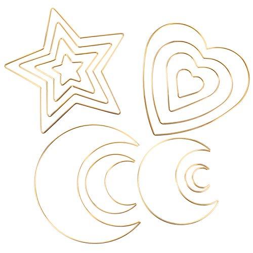 EXCEART 12 Piezas Anillos de Metal Atrapasueños Estrella Corazón en Forma de Corazón DIY Macramé Artesanía Aro Floral para DIY Guirnalda de Boda Hacer Macramé Proyectos de Artesanía
