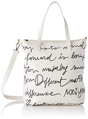 Desigual PU Shopping Bag, Bolsa de la compra para Mujer, blanco, U