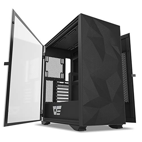 darkFlash DLX Mesh E-ATX/ATX/Micro ATX/Mini ITX Tower Computer Case, Dual Open PC Gaming Case, Tempered Glass Side Panel, USB Type-C Port, Cable Management System, Water-Cooling Ready (DLX Mesh Black)