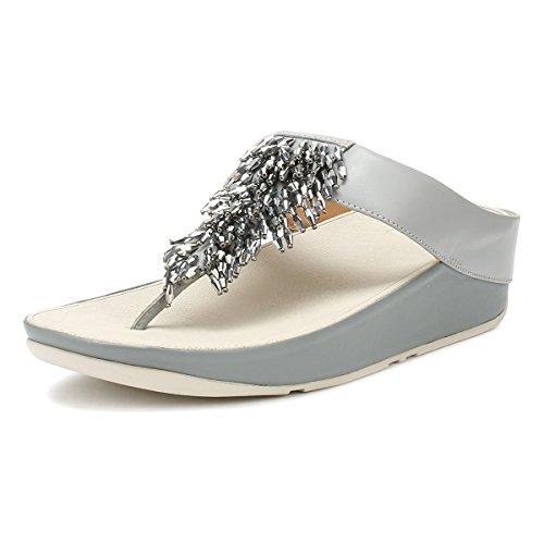 Fitflop Rumba TM Toe-Thong Sandals Crystal, Chanclas para Mujer, Azul (Dove Blue 534), 38 EU