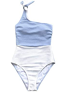 CUPSHE Women's Blue and White One Shoulder One Piece Swimsuit Medium