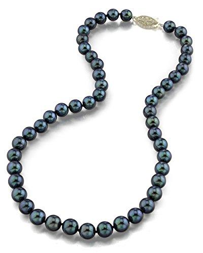 Schwarze Japanische Akoya Perlenkette 7-7,5mm AAA Süßwasser Zuchtperlen Matinee Länge 61cm - Gelbgoldverschluss