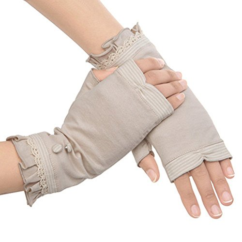 KiKa Monkey Guanti donna Protezione UV Cotton Estate Outdoor guida (Beige 2)
