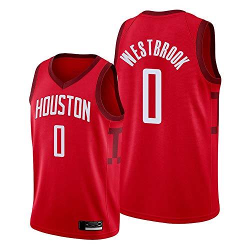 XXMM Camiseta De La NBA para Hombre, Camiseta De Baloncesto Houston Rockets # 0 Russell Westbrook, Ropa Deportiva De Entrenamiento Informal Sin Mangas, Tela Transpirable De Malla,XL(180~185CM)