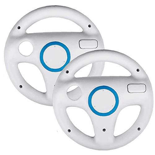 Naicasy Dirección Paquete de 2 Ruedas Juego para Mario Kart Wii, Juego para el Volante de Carreras Mario Kart Ajuste para Nintendo Wii (Blanco)