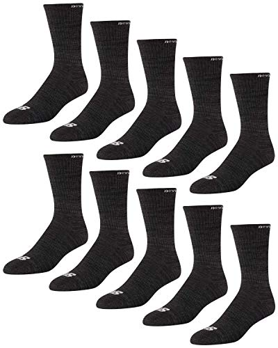 'New Balance Men's Athletic Arch Compression Cushion Comfort Solid Crew Socks (10 Pack), Grey, Size Shoe Size: 6-12.5'