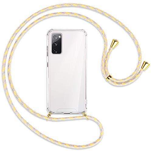 mtb more energy® Collana Smartphone per Samsung Galaxy S20 Fe (SM-G780, 6.5'') - Fiori Vintage/Oro - Custodia indossabile per Collo - Cover a Tracolla con cordina