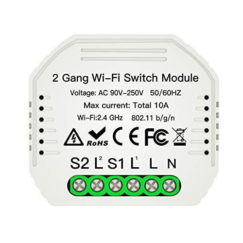 MOES 2 Way wifi smart lichtschakelaar universele breaker DIY module Smart Life/Tuya app afstandsbediening, werkt met Alexa Echo Google Home 2 versnellingen, 2-weg intelligente schakelaarmodule