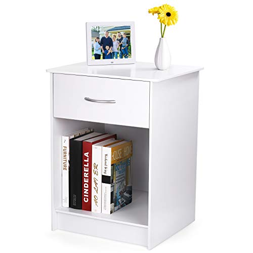 INTEY White Nightstand, Bedside Table with Drawer and Storage Shelf, End Table for Bedroom Living Room Home Furniture