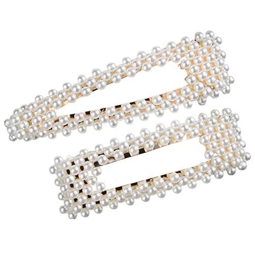 Haarschmuck/Dorical Damen Hochzeit Haarspange Braut Gold Perlen Schleife Glitzer Accessoires/Geburtstags Geschenk Party Zubehör Großer Spitzer Clip Mama Frauen Mädchen (One Size, Z002-D (2Pcs))