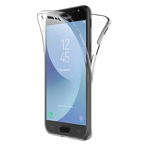AICEK Samsung Galaxy J3 2017 Hülle, 360°Full Body Transparent Silikon Schutzhülle für Samsung J3 2017 Hülle Crystal Clear Durchsichtige TPU Bumper Galaxy J3 2017 Handyhülle (5 Zoll SM-J330F)