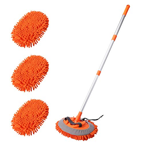 "2-in-1 Car Wash Mop Mitt with 3 Pcs Mop Heads, 45"" Long Handle Chenille Microfiber Car Wash Dust Brush Extension Pole Flexible Rotation Scratch Free Cleaning Tool Dust Collector Supplies (Orange)"