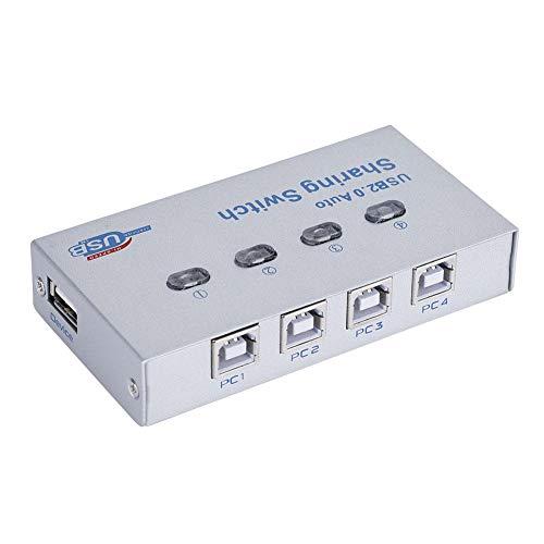 Diyeeni USB-vrijgaschakelaar, PC Computer USB 2.0 auto/handmatige vrijgave-schakelaar, 4 PC's delen 1 USB-apparaat en delen de switch-hub voor de printerscanner-plotter.