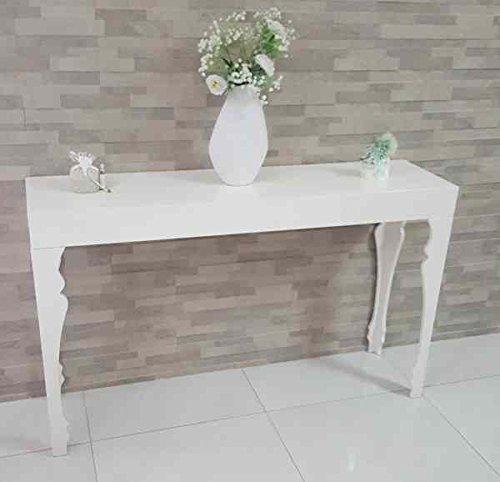 consolle, scrivania, tavolino in legno mdf bianca laccata lucida grande dimensioni130cm, 34cm, 80cm