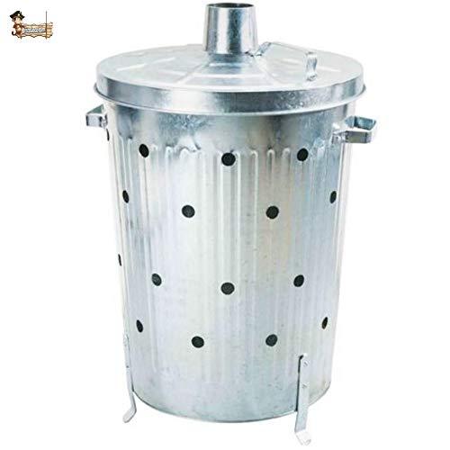BricoLoco Cubo incinerador jardín 75 litros para Hojas, desechos y residuos. Cilíndrico....