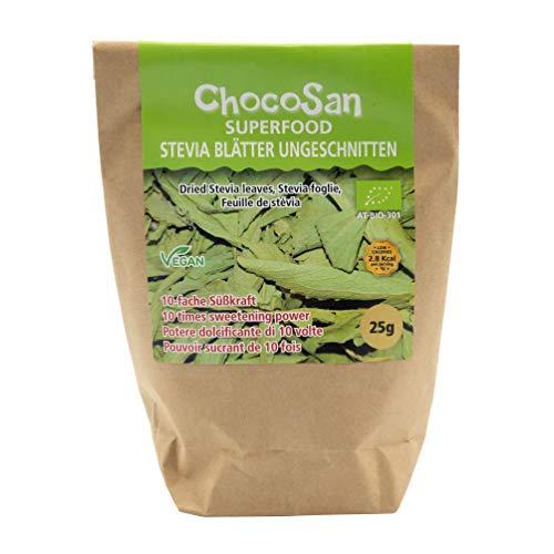 ChocoSan Bio Stevia Blätter getrocknet reines Stevia Zuckerersatz natürliches Süßungsmittel ohne Kalorien, 25g
