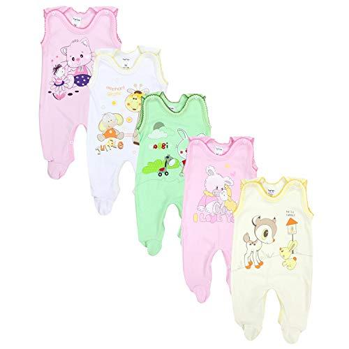 TupTam Unisex Baby Strampler mit Aufdruck Baumwolle 5er Set, Farbe: Mädchen, Größe: 68