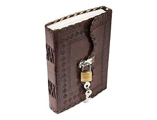 ZNT BAGS Leather Double Notebook Diary with Brass Lock on Front (Vintage Brown)