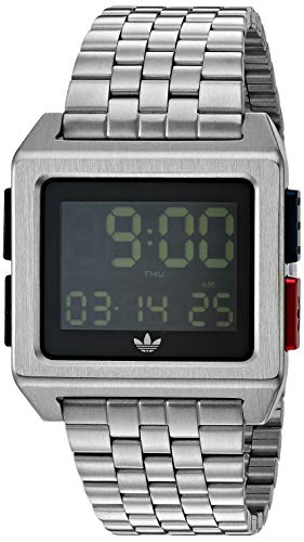 adidas Originals Watches Archive_M1. Men's 70's Style Stainless Steel Digital Watch with 5 Link Bracelet (36 mm) -Silver/Black/Blue/Red