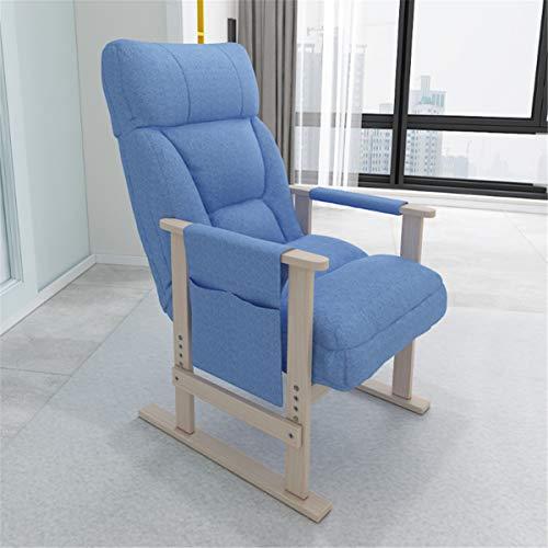 OMGPFR Silla de sofá clásica, Suave Cojín Engrosado Ergonómico Sillas de Oficina Lazy Gaming Cómodo Antideslizante Lavable Altura Trasera Ajustable Fácil de Montar para Dormitorio Sala Negro,Azul