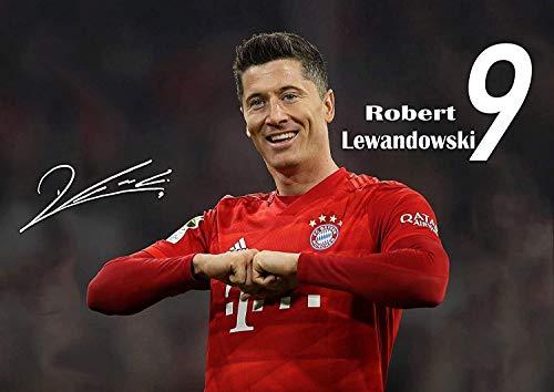 Robert Lewandowski #8 Happy Gesicht Unterzeichnet Motivation Politur Fußballspieler Foto Court Aufdruck Sport Inspiration FC Bayern München Bild Schlafzimmer Grafik Wand Dekoration Nachdruck