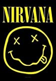Nirvana Flagge Smiley schwarz. Offiziell lizenziert