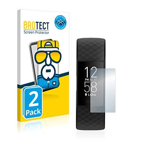 BROTECT Full-Cover Schutzfolie kompatibel mit Fitbit Charge 4 (2 Stück) - Full-Screen Displayschutz-Folie, 3D Curved, Kristall-Klar