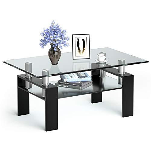 COSTWAY Couchtisch aus Glas, Wohnzimmertisch mit unterer Ablage, Glastisch mit Metallrahmen, Salontisch Sofatisch Clubtisch Beistelltisch Ablagetisch für das Wohnzimmer und Büro (Schwarz)