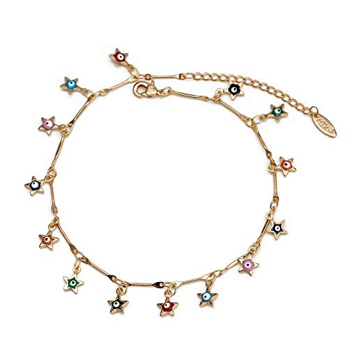 Turkish Evil Eye Ankle Bracelet Gold Color Copper Foot Leg Chain Anklet Fashion Jewelry Gifts For Women Men