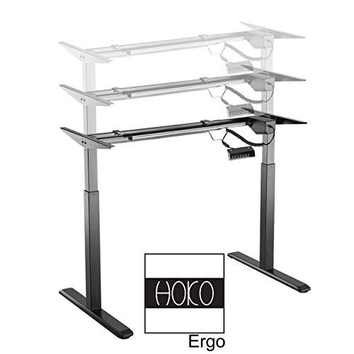 HOKO® Ergo-Work-Table Höhenverstellbarer Schreibtisch, Tischfüße Comfort Schwarz, elektrisch höhenverstellbar. Arbeiten im Sitzen und im Stehen! Memory Speicher Steuerung + Erinnerungsfunktion.