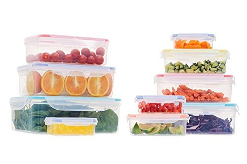 Frischhaltedosen aus Kunststoff mit Deckel, luftdichte Behälter, wiederverwendbar, 10 Stück