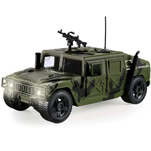 Liberty Imports Friction Powered Military Armored Vehicle Toy Car   Push and Go Off-Road Patrol Utility Truck with Lights and Sounds