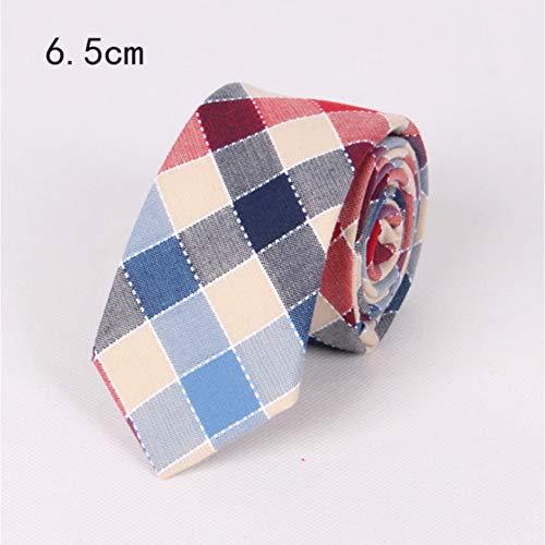 ZJWLL Cravate 6.5Cm en Coton Mince pour Hommes Cravate de Couleur Unie à Carreaux Vert et Jaune, adaptée aux Cadeaux d'affaires pour Hommes, B01