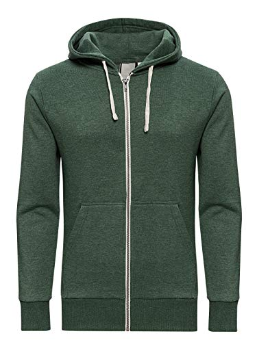 Yazubi Sweat Herren Jacke Zip Pullover Männer Sweatshirt Zip Hoody Kapuzenpullover Pulli Sweatshirtjacke Helix, Grün (Myrtle Green 186114), S