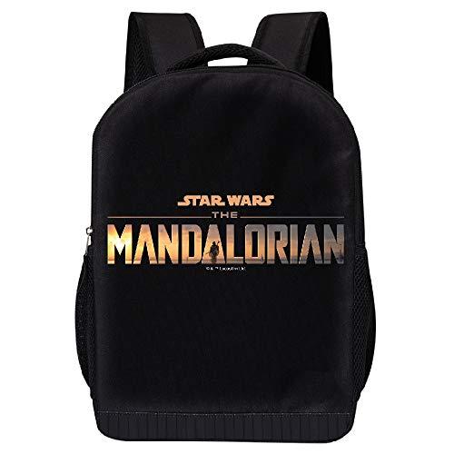 STAR WARS BLACK MANDALORIAN BACKPACK - STAR WARS 18 INCH AIR MESH PADDED BAG (Mandalorian Logo)
