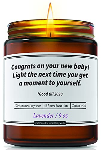 Funny Candle for New Parents - New Mom Gifts for Women | Baby Shower Gifts for New Baby First Time Mothers Mommy Mom to Be Unique Humorous Baby Registry Pregnancy Present | 9 oz Lavender Soy Candle