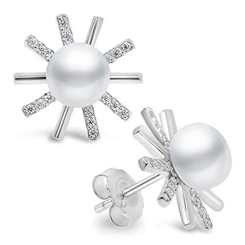 Pendientes de Mujer de Perlas Cultivadas de Agua Dulce tipo Botón de 7,5-8 mm Secret & You - Plata de Ley 925 bañada en Rodio con Tuercas Grandes de Calidad.