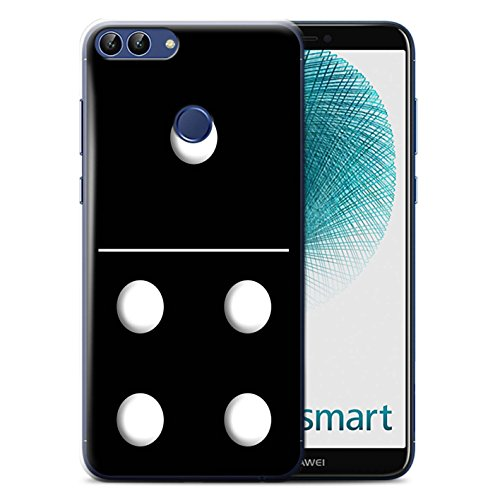 Stuff4® Phone Case/Cover/Skin/HUAGP-CC/Dominoes/Dominos Collection Huawei P Smart Zwarte tegel 1/4