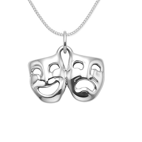 Sterling Silver Comedy & tragedy drama Pendant Necklace on 18' Silver Chain - Size: 20mm x 13mm - weight 2gms Gift Boxed 8026/18