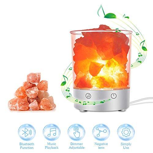Himalaya Salzlampe, Kristall Nachtlicht mit Bluetooth Lautsprecher und Touch Dimmer, natürliche Hymalain Pink Salt Rock Lampen für Yoga, Dekoration & Beste Geschenk