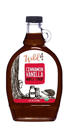 Wild4 Organic Maple Syrup, Cinnamon Vanilla Maple Syrup from Vermont, Gluten-Free, Classic Combination (8oz.), 237 mL - Perfect gift for holidays