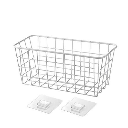 AOTUO Badezimmer-Eckregal, Badezimmerzubehör, Schmiedeeisen, Aufbewahrungsbox für Küche, Bad, Eckregal, Duschregal, Korb weiß