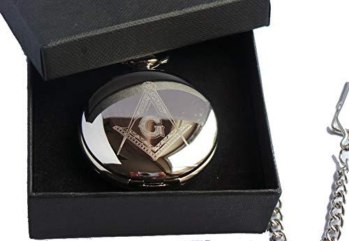 Freimaurer, Freimaurerei, Freimaurer Badge, Freimaurer Symbol, Maurer von London,, versilberte Taschenuhr in Geschenkbox