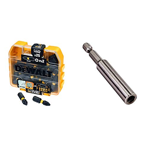 Dewalt DT70555T-QZ DT70555T-QZ-Juego de 25 Puntas IMPACT TORSION Ph2 25mm, Único + DT7520-QZ Portapuntas magnético para el Atornillador Panel Yeso DCF620, 1 unidad