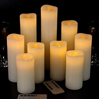 """Vickiss Flameless Candles Battery Operated Candles 4"""" 5"""" 6"""" 7"""" 8"""" 9"""" Set of 9 Ivory Real Wax Pillar LED Candles with 10-Key Remote and Cycling 24 Hours Timer"""