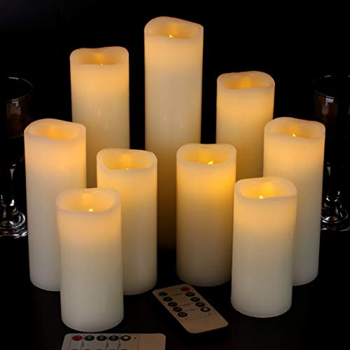 "Vickiss Flameless Candles Battery Operated Candles 4"" 5"" 6"" 7"" 8"" 9"" Set of 9 Ivory Real Wax Pillar LED Candles with 10-Key Remote and Cycling 24 Hours Timer"