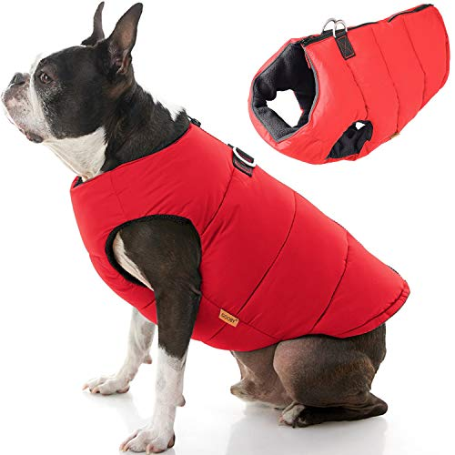 Gooby Padded Dog Vest - Solid Red, X-Large - Zip Up Dog Jacket Coat with D Ring Leash - Small Dog Sweater with Zipper Closure - Dog Clothes for Small Dogs Girl or Boy for Indoor and Outdoor Use