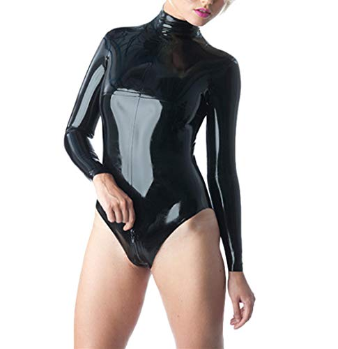 Erotische UnterwäscheBlack Latex Leotard Sexy Latex Catsuit Long Sleeves Latex Rubber Jumpsuit corsetry Back Zipped-Yellow_XS