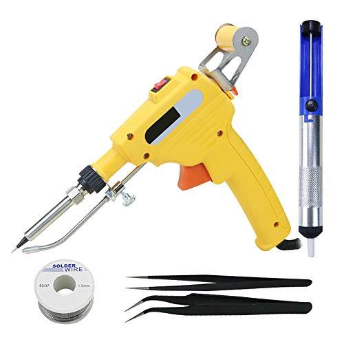 DIYARTS Kit De Soldador Pistola De Soldadura Herramienta De Reparación Automática De Soldadura De Hierro De Mano con Calefacción Interna (Yellow)