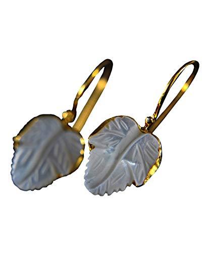 925 Sterling Silber - Perlmutt Ohrringe - Vergoldet - Blatt - weiß - Ohrhänger - Eleganz - Romantisch - Geschenk für Sie - Naturschmuck - Brautschmuck - Schmuckstück -